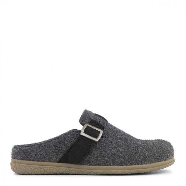 New Feet - Hjemmesko i filtet uld med spænde - Antracitgrå