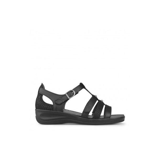New Feet - Sandal med velcro og elastik - Sort