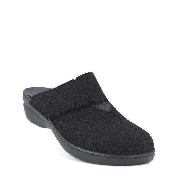 New Feet - Hjemmesko med lille hæl, uden kant - Sort