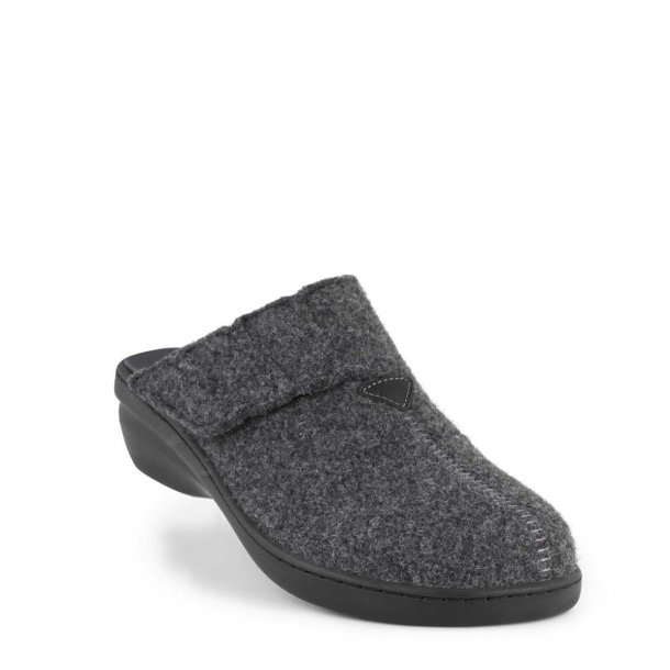 New Feet - Hjemmesko med lille hæl, uden kant - Antracitgrå