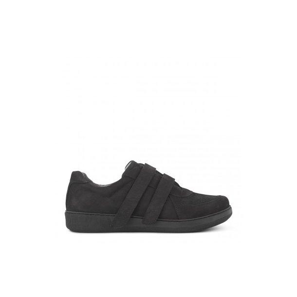 Klassisk sko med bred velcro- sort - 191-13-410