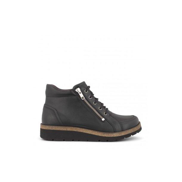 New Feet - Let snørestøvle m. lynlås - Sort