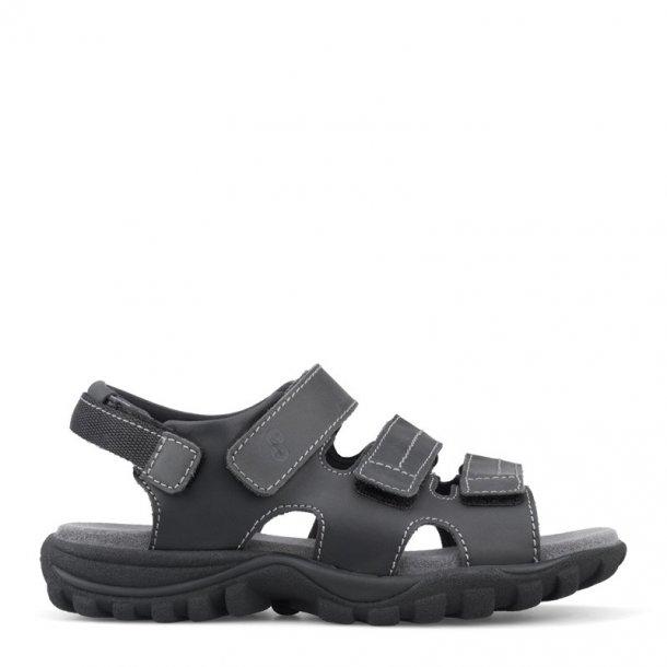 Sandal m/3 velcro remme Sort 11176