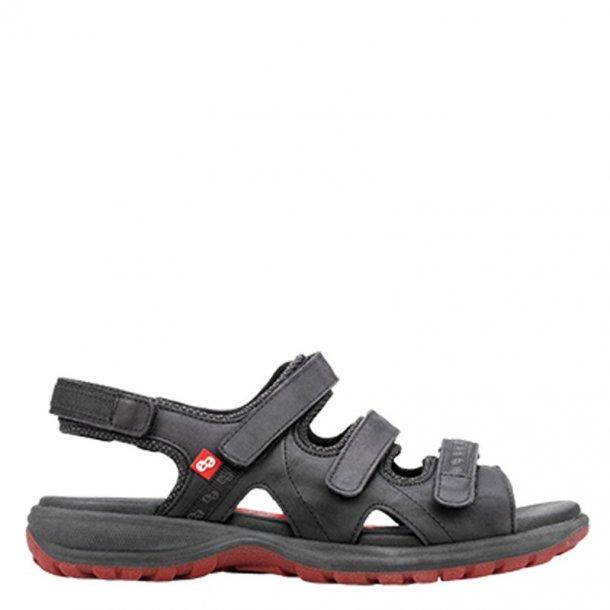 Sandal m/3 velcro remme Sort 13124