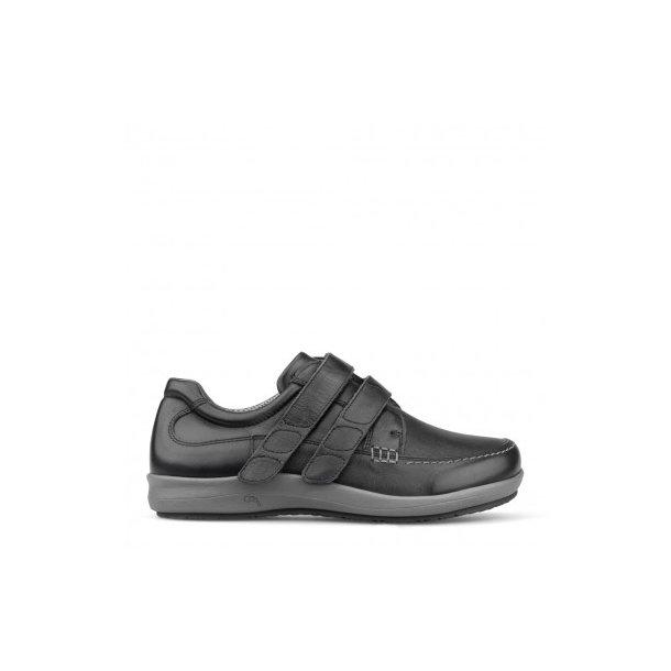 New Feet Bred Herrestøvle sort mvelcro og stretch